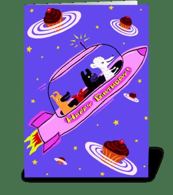 Pink Rocket Ship Birthday greeting card