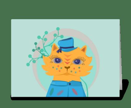 Orange circus cat greeting card