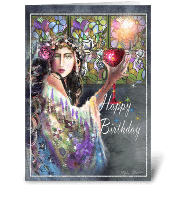 Gypsy Woman with Goblet, Birthday Card greeting card