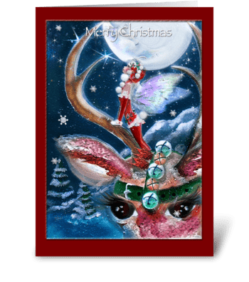 Fairy and Reindeer, Merry Christmas greeting card