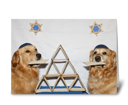 Golden Retriever Matzoh Passover Card greeting card