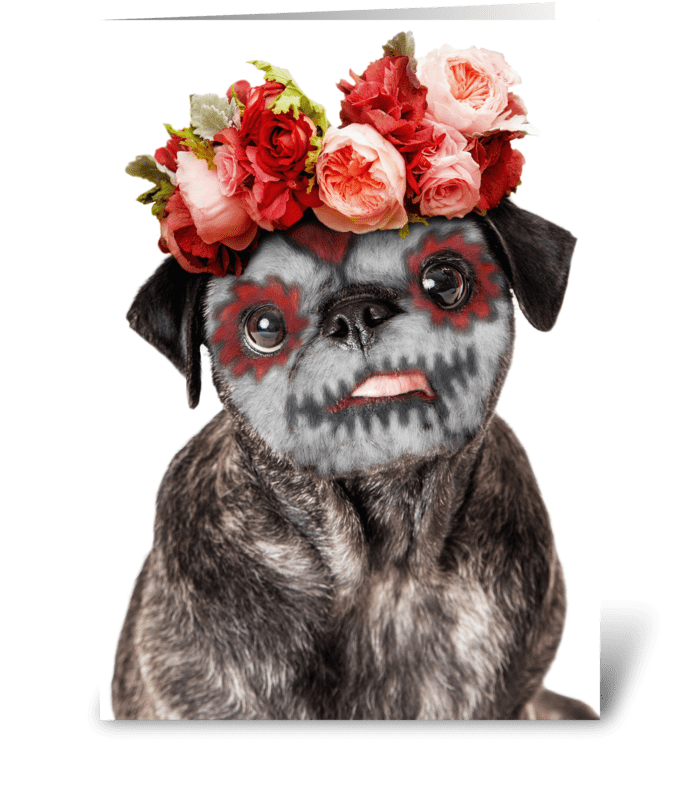 Funny Day of the Dead Dog greeting card