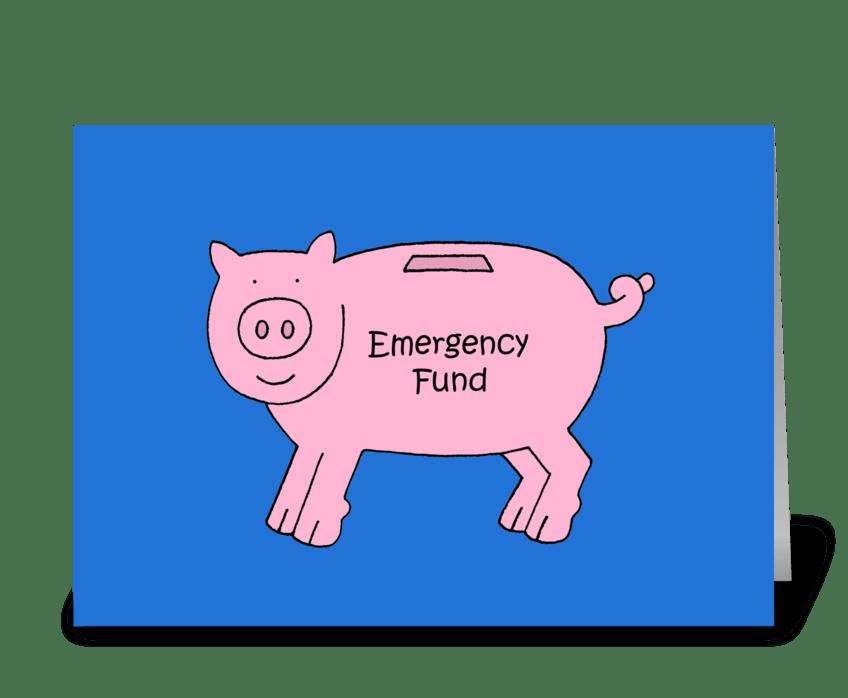 Money Gift Enclosed, Cartoon Piggybank. greeting card