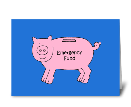 Money Gift Enclosed, Cartoon Piggybank. greeting card
