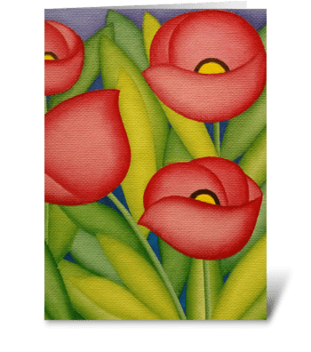 Red poppies card greeting card