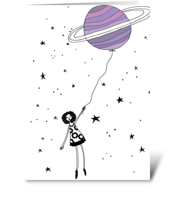 Girl in space greeting card