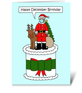 Covid 19 December Birthday Cartoon greeting card