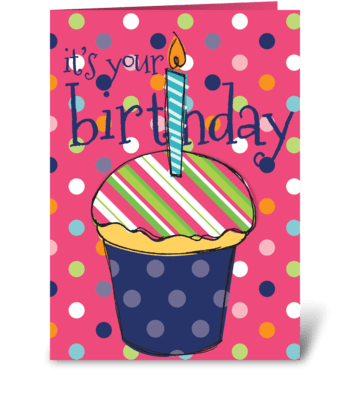Pink Birthday Cupcake greeting card