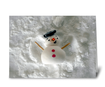 Snowman Snow Angel greeting card