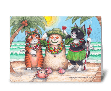 Tropical Christmas Holiday Cats #72 greeting card