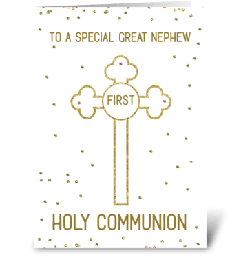Great Nephew First Holy Communion Gold greeting card