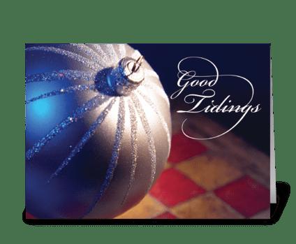 Elegant Silver Christmas Ornament greeting card