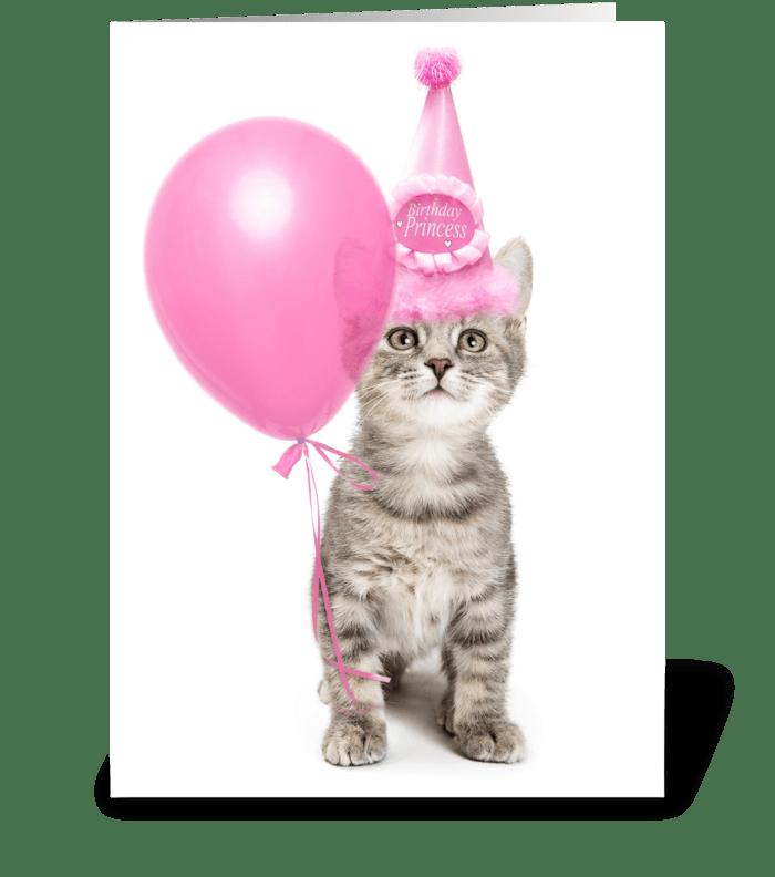 Pretty pink princess birthday kitten greeting card