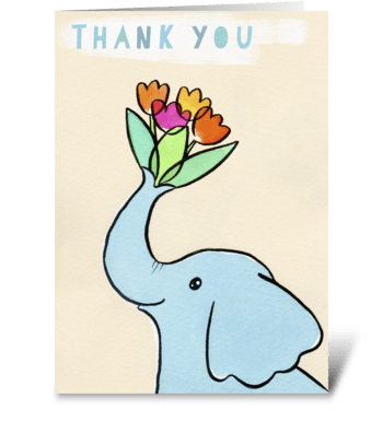 Thank You Elephant with Flowers greeting card