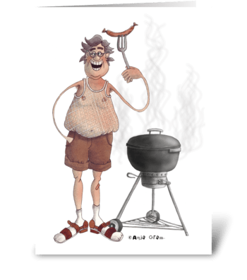 Delicious barbeque master greeting card