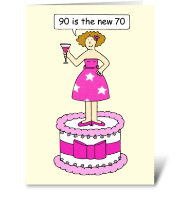 Happy 90th Birthday for Her, Cartoon. greeting card