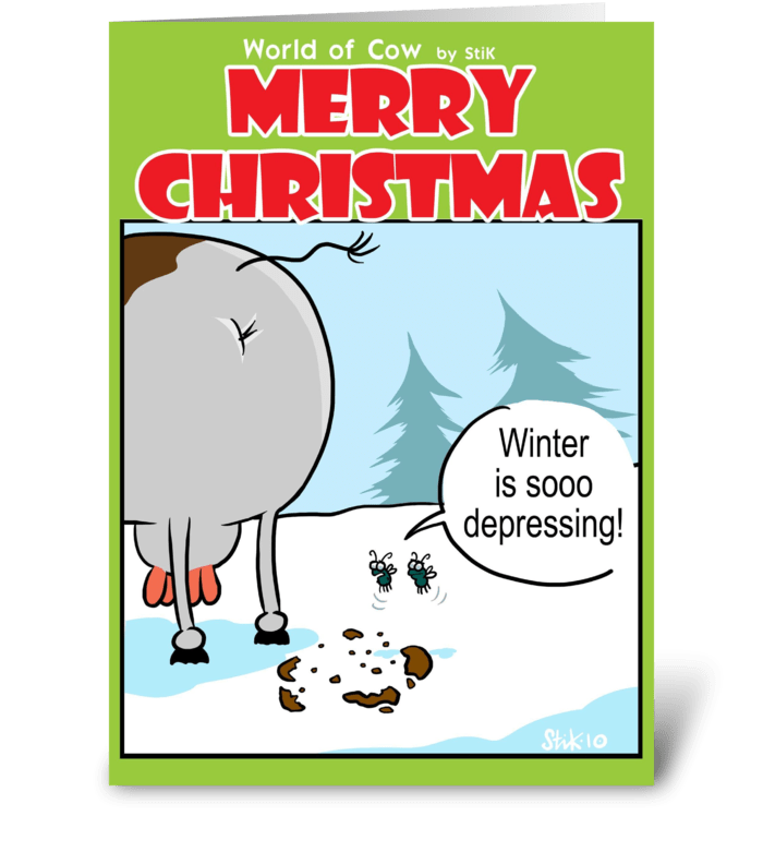 Depressing Winter Christmas card. greeting card