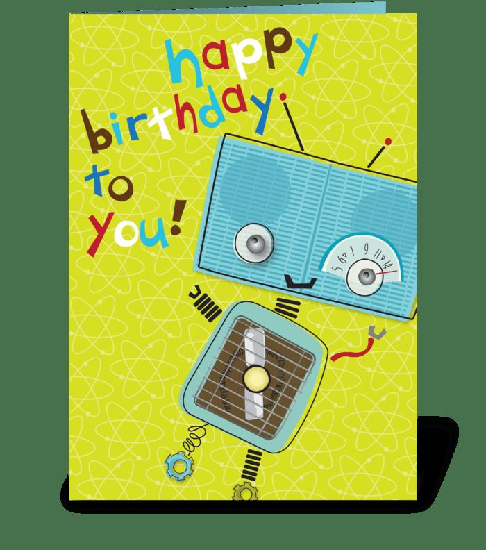 Blue Robot Birthday greeting card