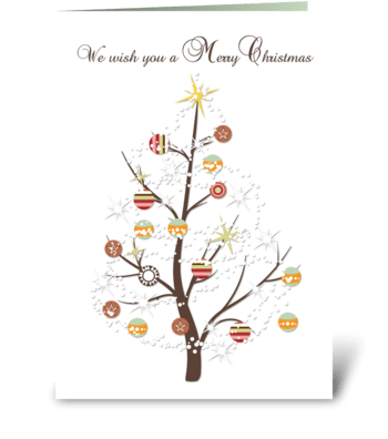 Christmas Tree, Ornaments, Snowflakes  greeting card
