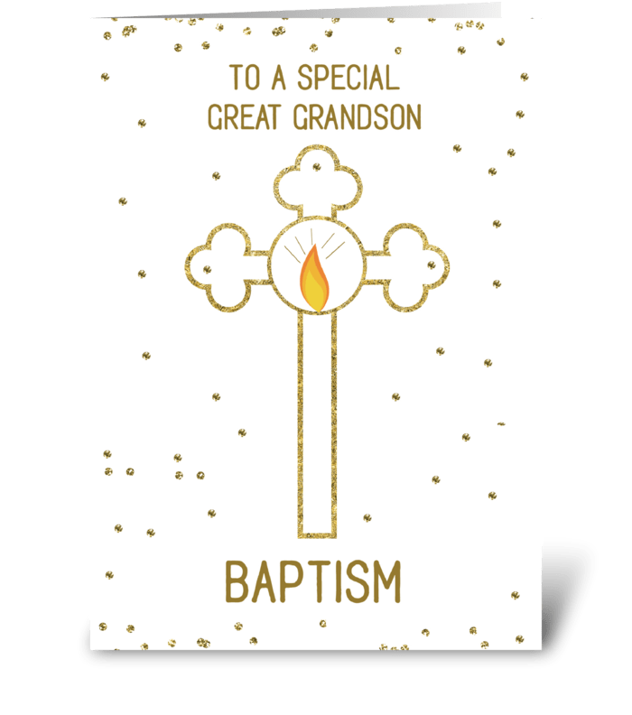 Great Grandson Baptism Gold Cross greeting card