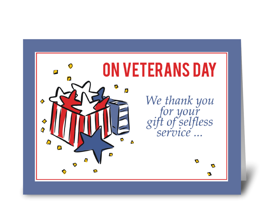 Veterans Day Patriotism Thank You Gift greeting card