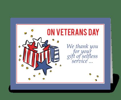 Veterans Day Patriotism Thank You Gift greeting card