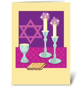 Passover Meal Candlesticks greeting card