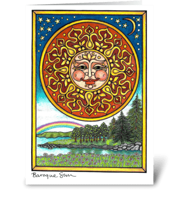 Baroque Sun greeting card