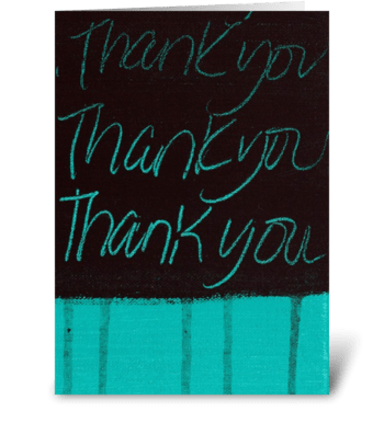 Thank You Painting - Black on Teal greeting card