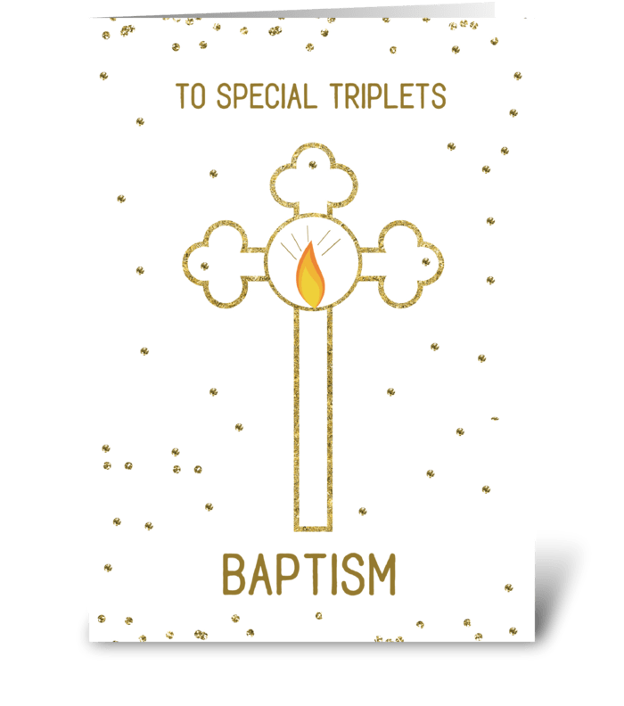 Triplets Baptism Gold Cross greeting card