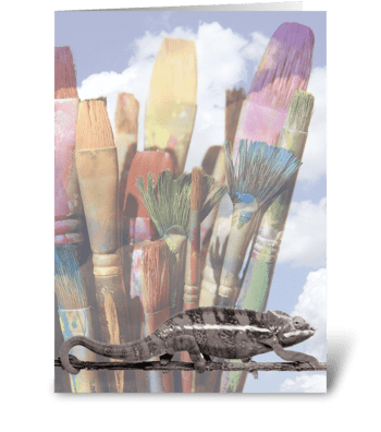 Cautious Chameleon greeting card
