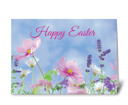 Happy Easter Wildflowers greeting card