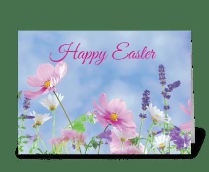 Happy Easter Wildflowers greeting card