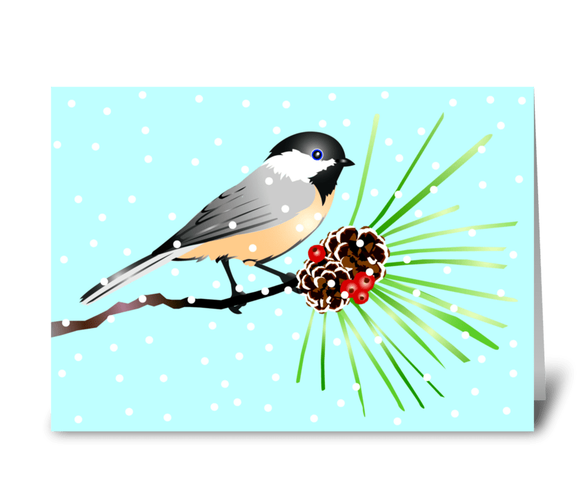 Little Chickadee Christmas Wish greeting card