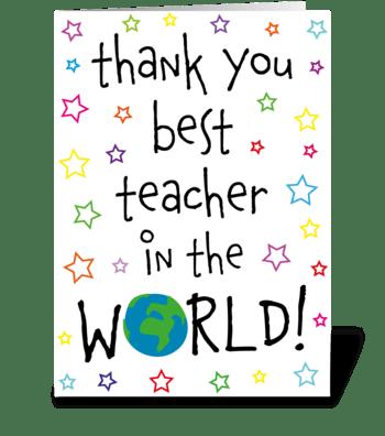 59 Best Teacher in the World greeting card