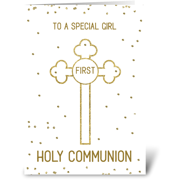 Girl First Holy Communion Gold Look greeting card