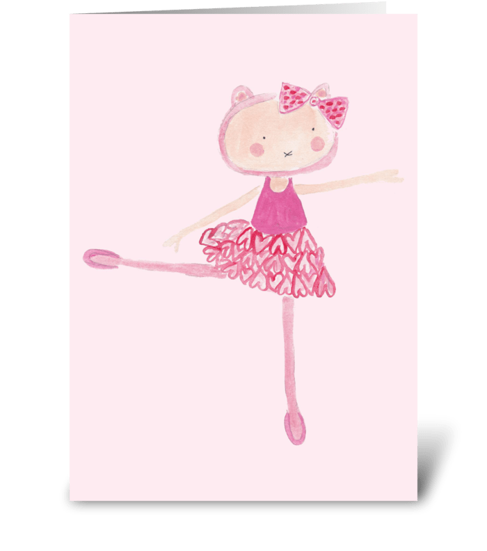 ballerina kitty greeting card