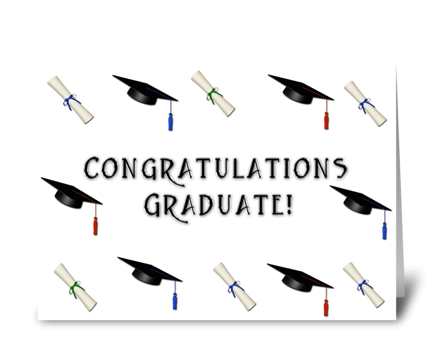 Graduation Caps, Diploma Border  greeting card