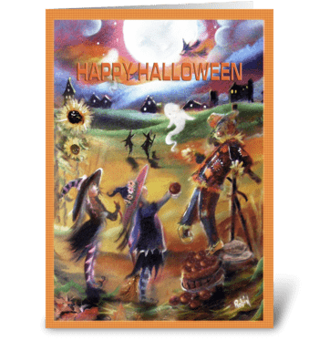 Little Witches and Scarecrow, Halloween  greeting card