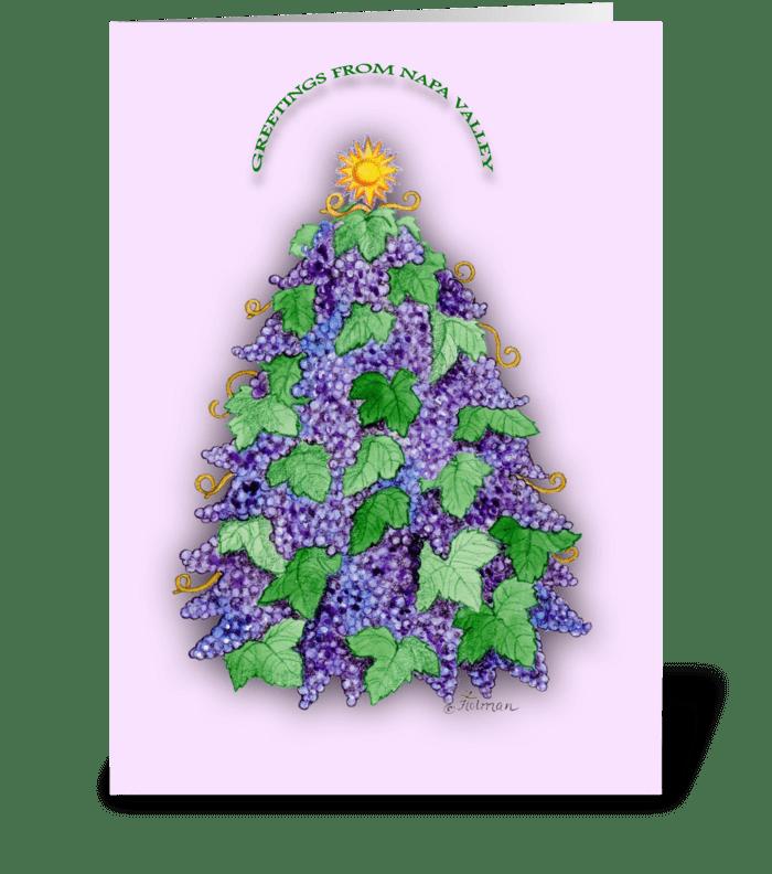 Napa Valley Grape Christmas Tree greeting card