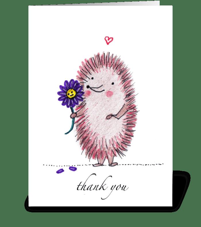 Thank You Hedgehog greeting card