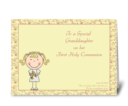 Congrats, Holy Communion, Granddaughter greeting card