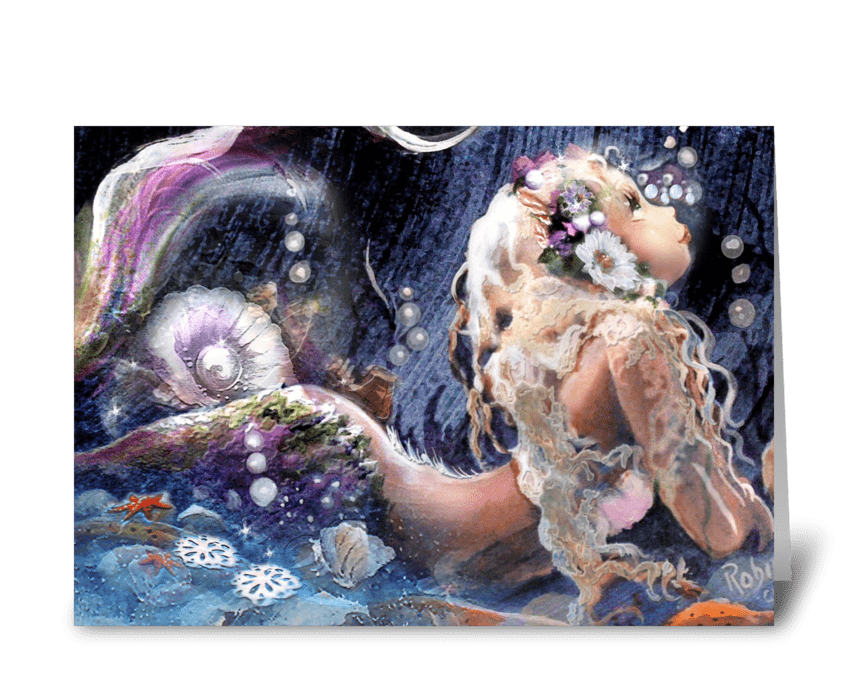 Pretty Mermaid's Birthday Wish greeting card