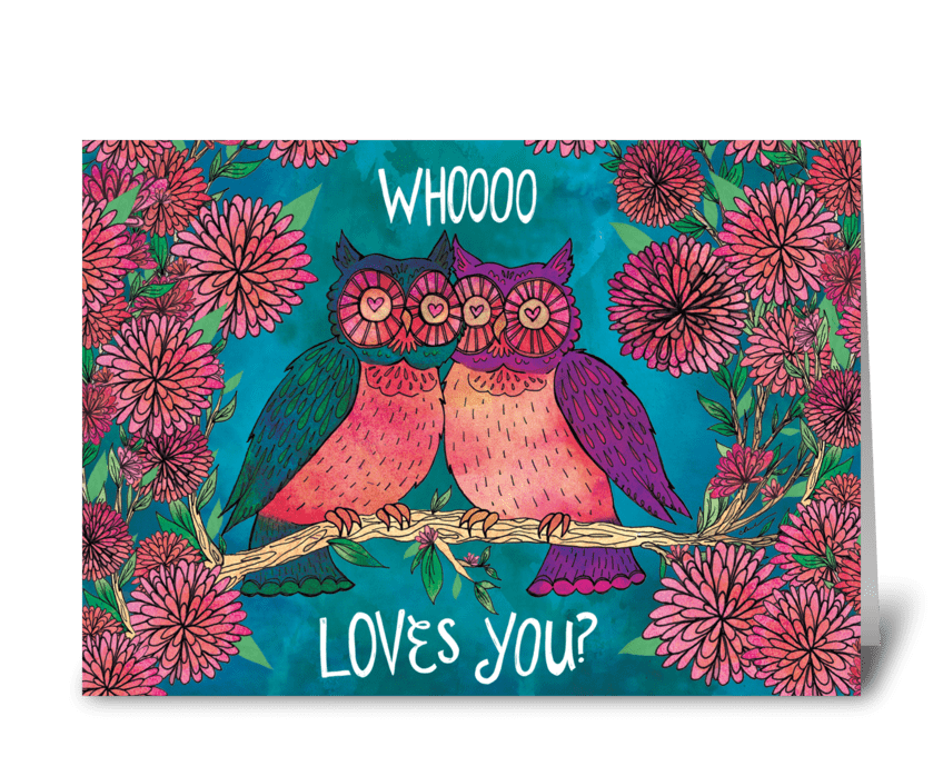 Whoooo Loves You? greeting card