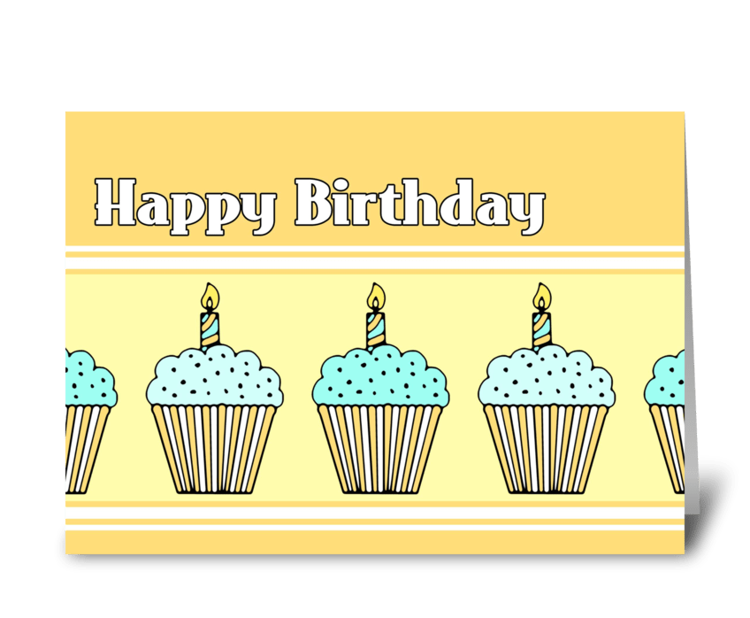Happy Birthday Cupcakes greeting card