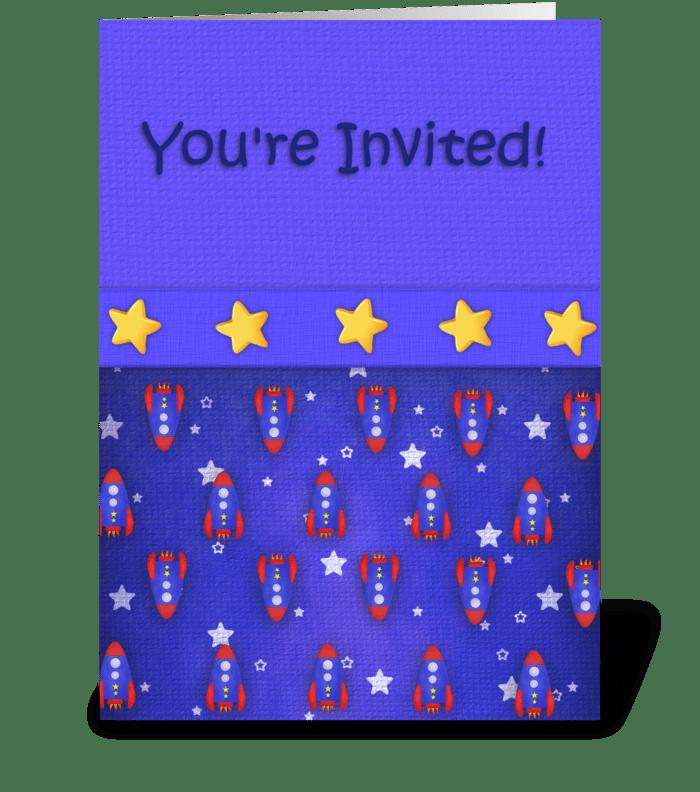 Rocket Ship Invitations greeting card