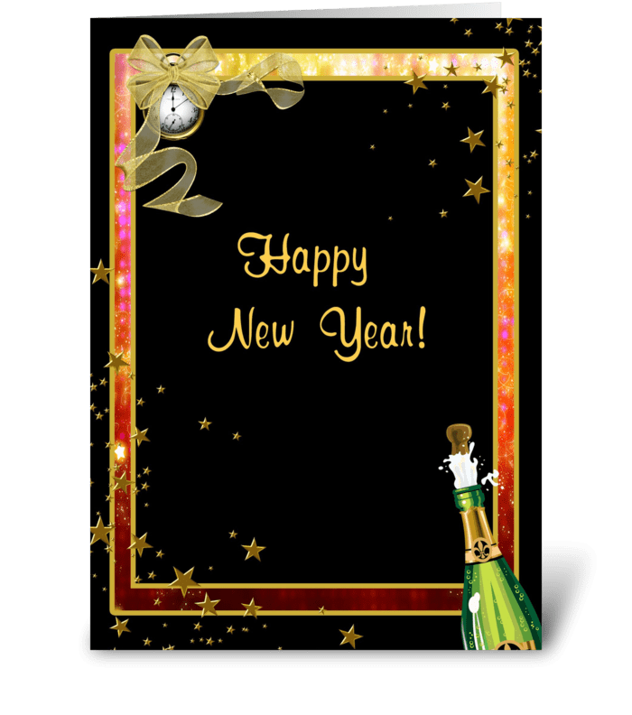 Happy New Year, Champagne, Clock, Stars greeting card