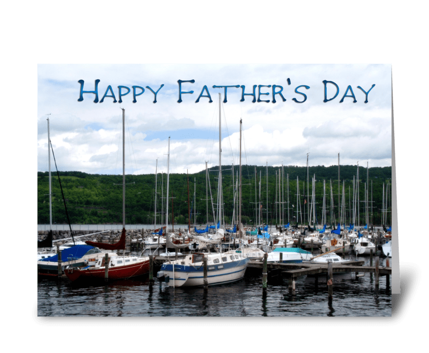Father's Day, Boat Marina greeting card