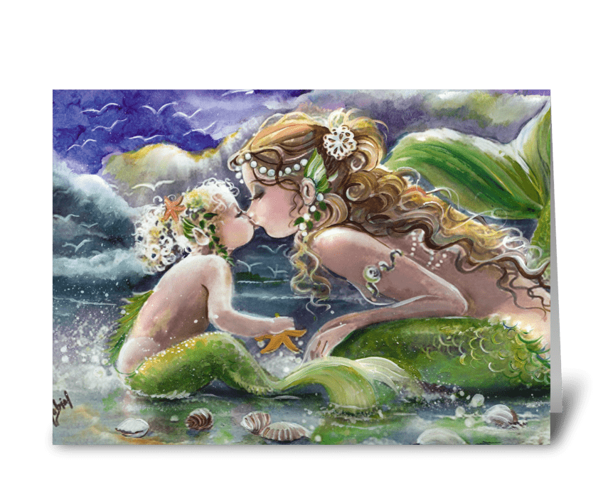 Mother and child, Mermaid themed ART greeting card