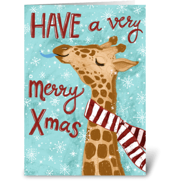 Very Merry Giraffe Christmas! greeting card